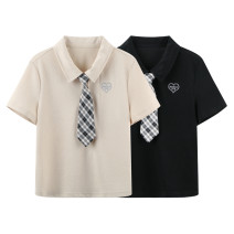 T-shirt Black, beige S,M,L,XL Spring 2021 Short sleeve Polo collar Straight cylinder Regular routine commute cotton 30% and below 18-24 years old Korean version youth Solid color Peacebird