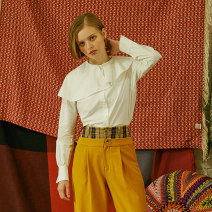 shirt white XS,S,M Autumn of 2018 cotton 96% and above Long sleeves Original design Short style (40cm < length ≤ 50cm) Lotus leaf collar Single row multi button routine Solid color 18-24 years old Straight cylinder HOWL FW18BL1327 Ruffles, asymmetric