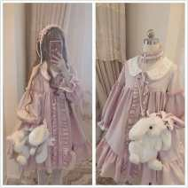 Dress Autumn of 2019 Lotus root Pink M (small), l (large) Mid length dress singleton  Long sleeves Sweet Doll Collar High waist Solid color Single breasted A-line skirt bishop sleeve Under 17 Type A Flounce, embroidery, Auricularia auricula, button, lace 30% and below Chiffon nylon Lolita