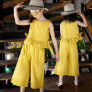 suit Other / other Blue, yellow, pink 110cm,120cm,130cm,140cm,150cm,160cm female summer Korean version Sleeveless + pants 2 pieces routine There are models in the real shooting Socket nothing Solid color cotton children Expression of love Class B Other 100% Chinese Mainland
