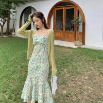 Dress Summer 2021 Cardigan [limited price increase], suspender skirt [limited price increase], cardigan + suspender skirt S,M,L,XL Mid length dress Two piece set Sleeveless commute One word collar High waist Broken flowers Socket Ruffle Skirt routine camisole 18-24 years old Type A Retro Chiffon