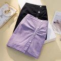 Women's large Summer 2021 Purple, black L [100-120 Jin], XL [120-140 Jin], 2XL [140-160 Jin], 3XL [160-180 Jin], 4XL [180-200 Jin] skirt singleton  commute easy thin Solid color Korean version Three dimensional cutting Short skirt Irregular skirt