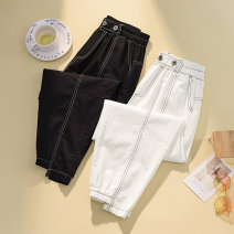 Women's large Spring 2021 White, black L [100-120 Jin], XL [120-140 Jin], 2XL [140-160 Jin], 3XL [160-180 Jin], 4XL [180-200 Jin] trousers singleton  commute easy moderate Korean version Three dimensional cutting pocket Ninth pants