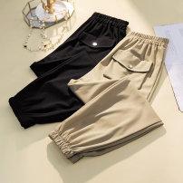 Women's large Summer 2021 Apricot, black L [100-120 Jin], XL [120-140 Jin], 2XL [140-160 Jin], 3XL [160-180 Jin], 4XL [180-200 Jin] trousers singleton  commute easy moderate Korean version Three dimensional cutting pocket Ninth pants