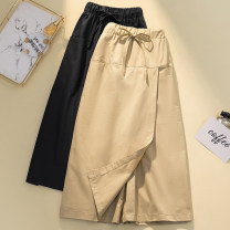 Women's large Summer 2021 Black, Khaki L【90 - [120 kg] , XL【120 - 140 kg] , 2XL【140 - 160 kg] , 3XL【160 - 180 kg] , 4XL【180 - 210 kg] trousers singleton  commute easy moderate Three dimensional cutting Bandage Cropped Trousers