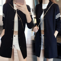 Women's large Spring 2021 black XL 100-120 Jin, 2XL 120-145 Jin, 3XL 145-165 Jin, 4XL 165-180 Jin, 5XL 180-210 Jin Jacket / jacket singleton  commute easy moderate Cardigan Long sleeves Solid color Korean version Medium length Cotton, others routine