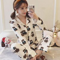 Pajamas / housewear set female Other / other M - (recommended 80-100kg) l - (recommended 100-120kg) XL - (recommended 120-140kg) collect baby + add to cart free freight insurance cotton Long sleeves Cartoon Leisure home autumn routine Small lapel Cartoon animation trousers Front buckle youth 2 pieces