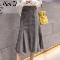 skirt Spring 2021 S,M,L,XL,2XL Brown, grey, black Mid length dress commute High waist A-line skirt Solid color More than 95% other other Pleats, folds, three-dimensional decoration, waves, buttons, stitching Korean version