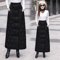 skirt Winter 2020 M,L,XL,2XL,3XL,4XL black longuette Versatile High waist A-line skirt Solid color Type A 25-29 years old 91% (inclusive) - 95% (inclusive) Pocket, decorative thread, stitching