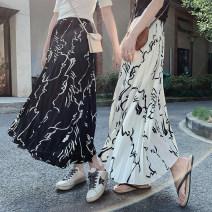 skirt Summer 2021 Average size Black skirt, white skirt, white short sleeve T-shirt, black short sleeve T-shirt Mid length dress Versatile High waist Pleated skirt Type A 18-24 years old Chiffon