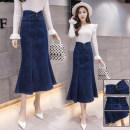 skirt Autumn of 2019 S,M,L,XL,2XL,3XL navy blue Mid length dress commute High waist Denim skirt Solid color Type X Denim cotton Korean version