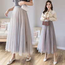 skirt Spring 2021 One size fits all Black powder, blue apricot, blue powder longuette High waist A-line skirt Solid color Type A 18-24 years old Other / other other 401g / m ^ 2 (inclusive) - 500g / m ^ 2 (inclusive)