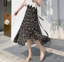 skirt Summer 2021 Average size Mid length dress Versatile High waist Irregular Decor Type A 18-24 years old Chiffon other Lotus leaf edge