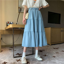 skirt Spring 2021 S,M,L,XL White, denim blue Mid length dress commute High waist A-line skirt Solid color Type A 25-29 years old 31% (inclusive) - 50% (inclusive) other polyester fiber