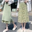 skirt Winter of 2019 Average size Green, black Mid length dress commute High waist skirt Big flower Type A knitting cotton Splicing Korean version