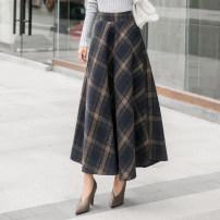skirt Autumn 2020 M,L,XL,2XL Dark grey, dark blue longuette Versatile High waist Pleated skirt lattice Type A 25-29 years old