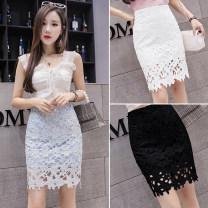 skirt Spring 2020 S,M,L,XL Short skirt Versatile High waist A-line skirt Solid color Type A 18-24 years old