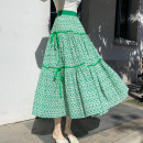 skirt Summer 2021 Average size Mid length dress commute High waist A-line skirt Decor Type A 18-24 years old Chiffon polyester fiber printing ethnic style