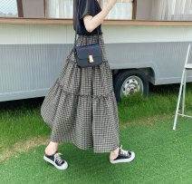 skirt Spring 2021 Average size Purple, blue, black Mid length dress Versatile High waist Cake skirt Solid color Type A 18-24 years old