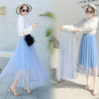 skirt Spring of 2019 Average size Apricot, white, pink, black, gray Mid length dress Versatile Natural waist Pleated skirt Solid color Type A Other / other