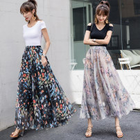 skirt Summer 2021 M,L,XL Flower meaning, green feather, dark green, ink dye, flower language, silver flower, blue butterfly, can butterfly, sunny longuette Versatile Natural waist A-line skirt Decor Type A 25-29 years old