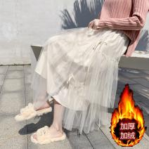 skirt Winter of 2019 Mid length dress Versatile Natural waist Irregular Solid color Type A