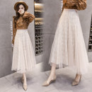 skirt Spring of 2018 S,M,L Black, apricot Mid length dress Versatile High waist A-line skirt Solid color Type A 18-24 years old 31% (inclusive) - 50% (inclusive) Lace polyester fiber
