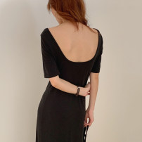 Dress Summer 2020 black Average size longuette singleton  Short sleeve commute square neck Solid color 18-24 years old Other / other Korean version