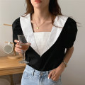 shirt Apricot, black Average size Summer 2021 cotton 30% and below Short sleeve Regular square neck Socket puff sleeve other 18-24 years old Other / other