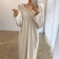 Dress Spring 2021 White, gray, black, oatmeal Average size longuette singleton  Long sleeves commute Hood Loose waist Solid color Single breasted 18-24 years old Other / other Korean version