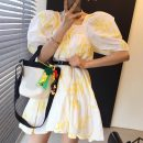 Dress Summer 2021 white Average size Middle-skirt singleton  Short sleeve commute square neck Loose waist puff sleeve Others 18-24 years old Other / other Korean version 31% (inclusive) - 50% (inclusive)