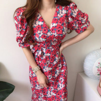 Dress Spring 2021 Red, blue Average size longuette singleton  Short sleeve commute V-neck High waist Broken flowers Socket A-line skirt routine Others 18-24 years old Other / other Korean version printing 81% (inclusive) - 90% (inclusive)