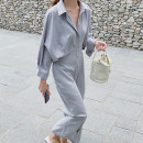 Dress Autumn 2020 Black, light card, grey blue Average size longuette singleton  Long sleeves commute Solid color 18-24 years old Other / other Korean version