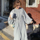 Dress Spring 2021 wathet Average size longuette Long sleeves commute Crew neck bishop sleeve 18-24 years old Other / other Korean version 51% (inclusive) - 70% (inclusive)