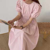 Dress Summer 2020 White, pink, blue, black Average size longuette singleton  Short sleeve commute Crew neck High waist Solid color puff sleeve 18-24 years old Other / other Korean version