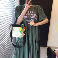 Dress Spring 2021 White, green, black Average size longuette Short sleeve commute Crew neck puff sleeve 18-24 years old Other / other Korean version 51% (inclusive) - 70% (inclusive)