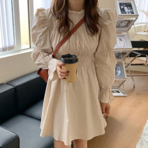 Dress Spring 2021 Black, light card Average size Short skirt singleton  Long sleeves commute stand collar High waist Solid color pagoda sleeve 18-24 years old Other / other Korean version 51% (inclusive) - 70% (inclusive)
