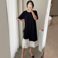 Dress Summer 2021 Khaki, white, black Average size longuette singleton  Short sleeve commute Crew neck Loose waist Socket routine Others 18-24 years old Other / other Korean version 31% (inclusive) - 50% (inclusive)
