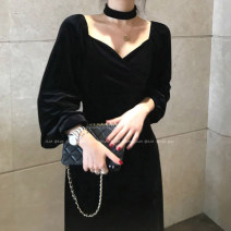 Dress Winter 2020 black S, M Miniskirt singleton  Long sleeves commute V-neck Solid color Socket other routine Others 18-24 years old Other / other Korean version 81% (inclusive) - 90% (inclusive) polyester fiber