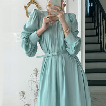 Dress Spring 2021 Off white, black, mint green Average size longuette singleton  Long sleeves commute Crew neck Solid color puff sleeve Others 18-24 years old Other / other Korean version