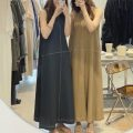 Dress Summer 2021 Khaki, dark blue Average size longuette singleton  Sleeveless commute Crew neck Loose waist Solid color Others 18-24 years old Other / other Korean version 31% (inclusive) - 50% (inclusive) hemp