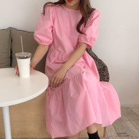 Dress Spring 2021 Pink Average size longuette singleton  Short sleeve commute Crew neck Loose waist Solid color routine Others 18-24 years old Other / other Korean version other cotton