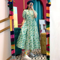 Dress Summer 2021 Green, black Average size longuette singleton  Short sleeve square neck High waist Broken flowers other Big swing puff sleeve 18-24 years old Other / other