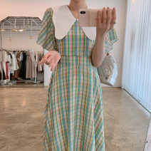 Dress Spring 2021 Green, yellow Average size longuette singleton  three quarter sleeve Doll Collar High waist lattice other other Lotus leaf sleeve 18-24 years old Other / other