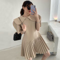 Dress Summer 2021 Khaki, Navy S,M,L Short skirt singleton  Short sleeve Doll Collar High waist Solid color Pleated skirt puff sleeve 18-24 years old Other / other