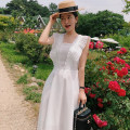 Dress Summer 2021 White, black Average size longuette singleton  Sleeveless square neck High waist Solid color other other Flying sleeve 18-24 years old Other / other