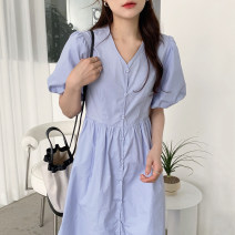 Dress Spring 2021 Sky blue, white, black Average size Short sleeve commute V-neck puff sleeve 18-24 years old Other / other Korean version 51% (inclusive) - 70% (inclusive)