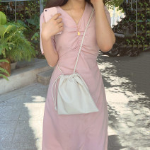 Dress Summer 2021 White, black, pink Average size Mid length dress singleton  Short sleeve commute V-neck High waist 18-24 years old Other / other Korean version