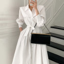 Dress Spring 2021 White, black Average size Mid length dress singleton  Long sleeves commute Polo collar middle-waisted Socket other routine 18-24 years old Type H Other / other Korean version 71% (inclusive) - 80% (inclusive) other other