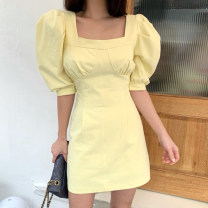 Dress Summer 2021 White, yellow, black S,M,L Short skirt singleton  Short sleeve square neck High waist Solid color other other puff sleeve Others 18-24 years old Other / other